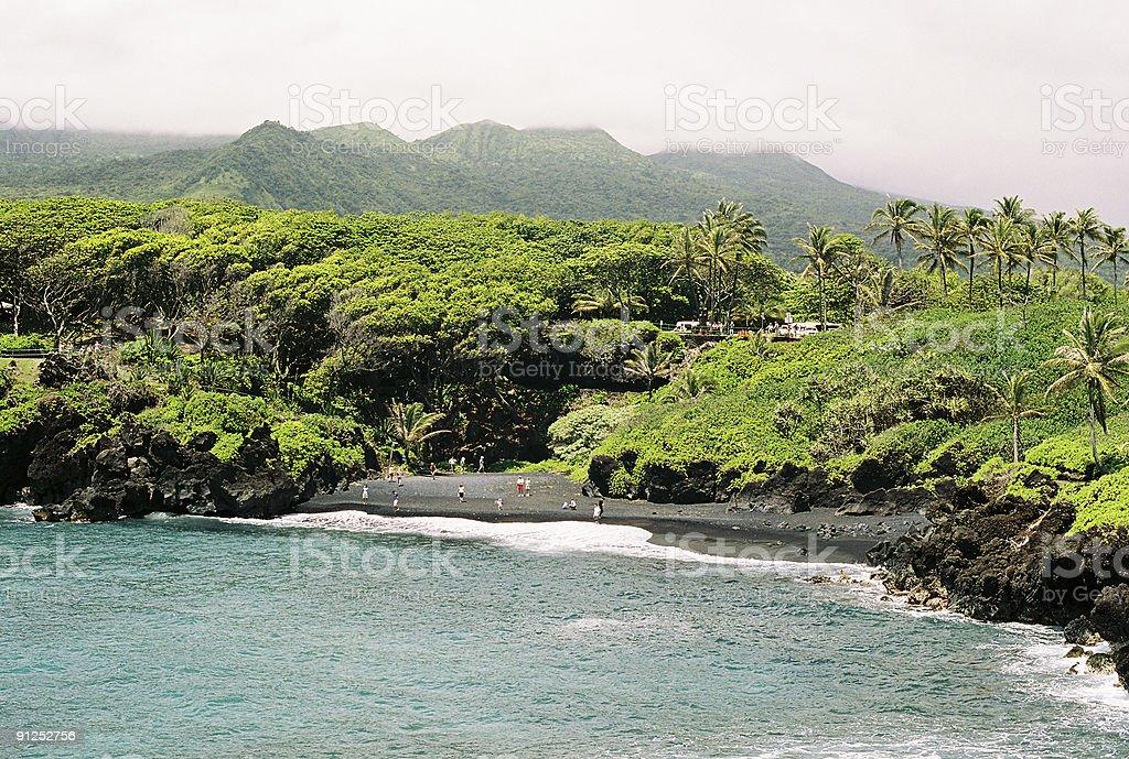 Wainapanapa black sand beach coastal on Maui Hawaii stock photo