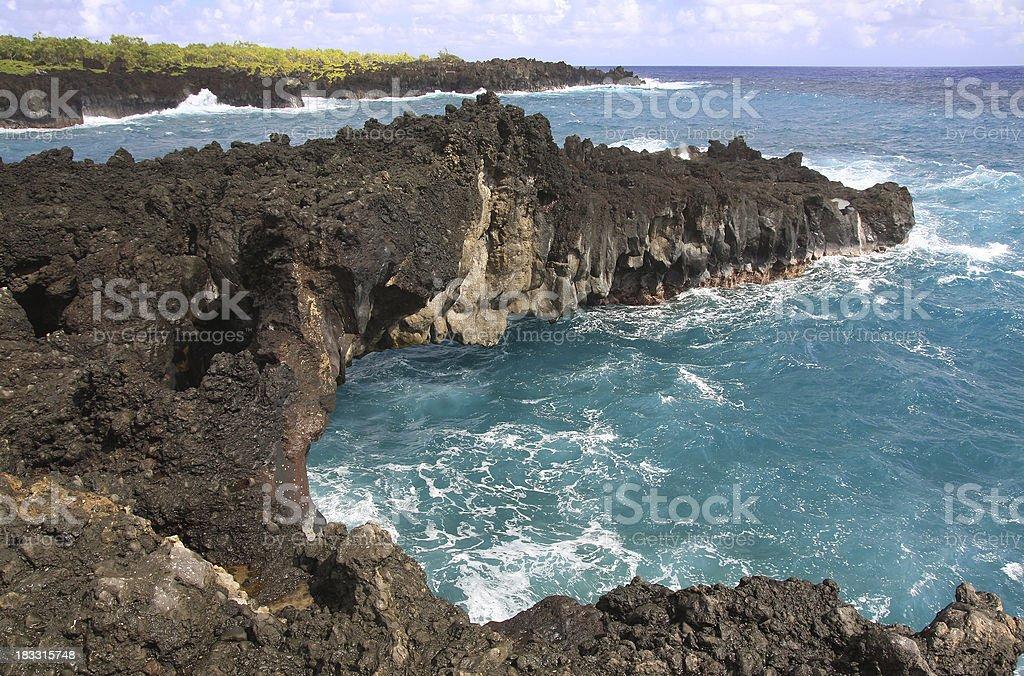 Wainapanapa park coastal scene on Maui Hawaii stock photo