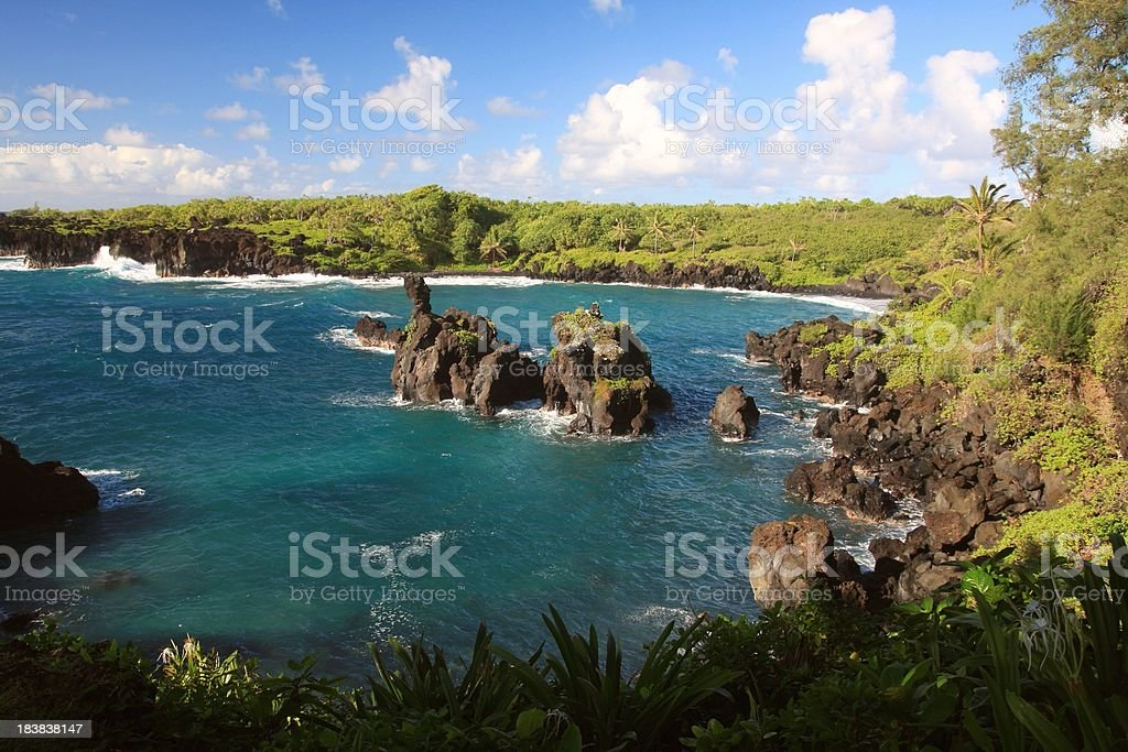 Wainapanapa park coastal scenic on Hana Maui Hawaii stock photo