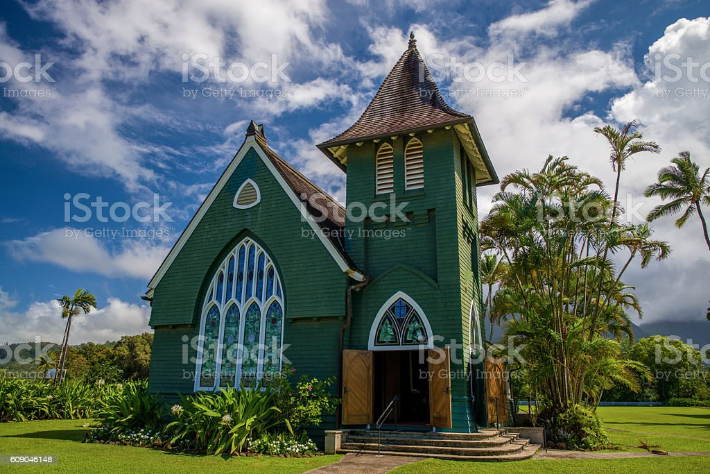 wai'oli hui'ia church, hawaii stock photo