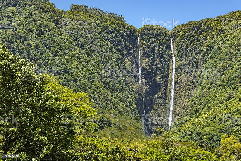 Waipio Falls Big Island Hawaii stock photo