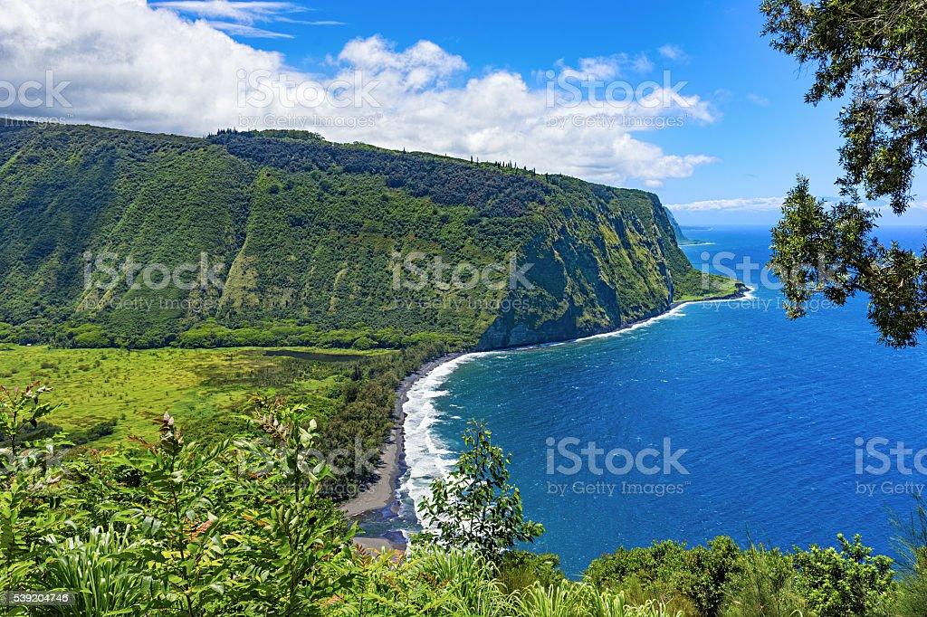 Waipio Valley Lookout Big Island Hawaii USA stock photo