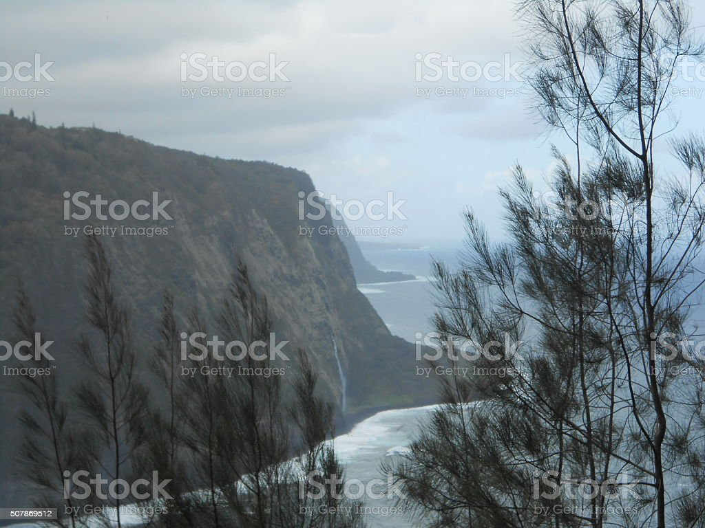 Waipio Valley Lookout on Big Island in Hawaii. stock photo
