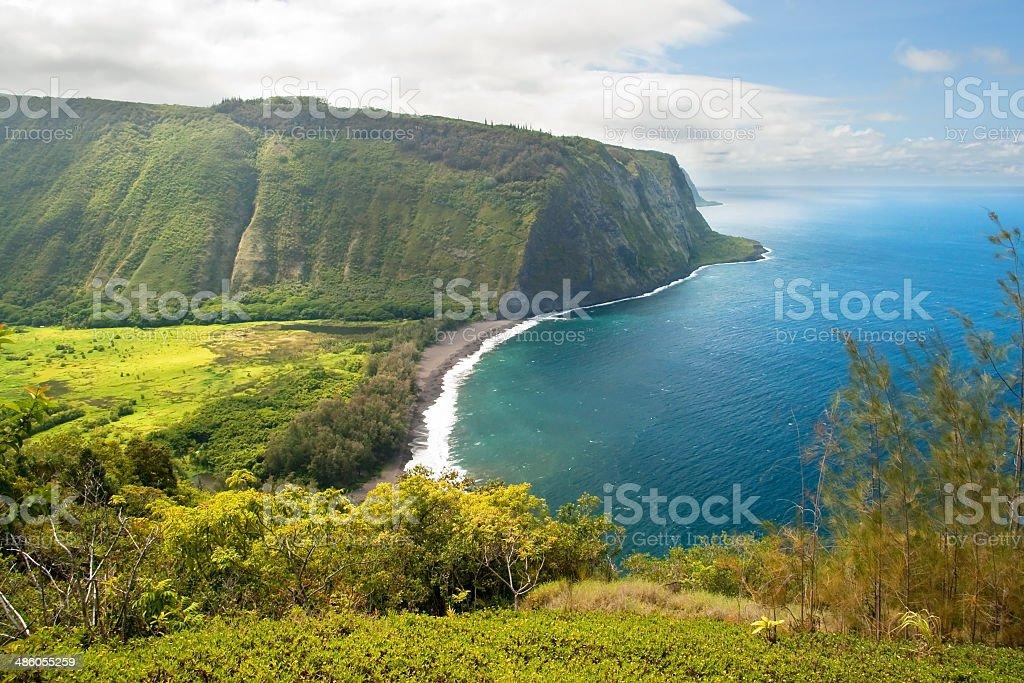 Waipio valley lookout on Hawaii Big Island stock photo