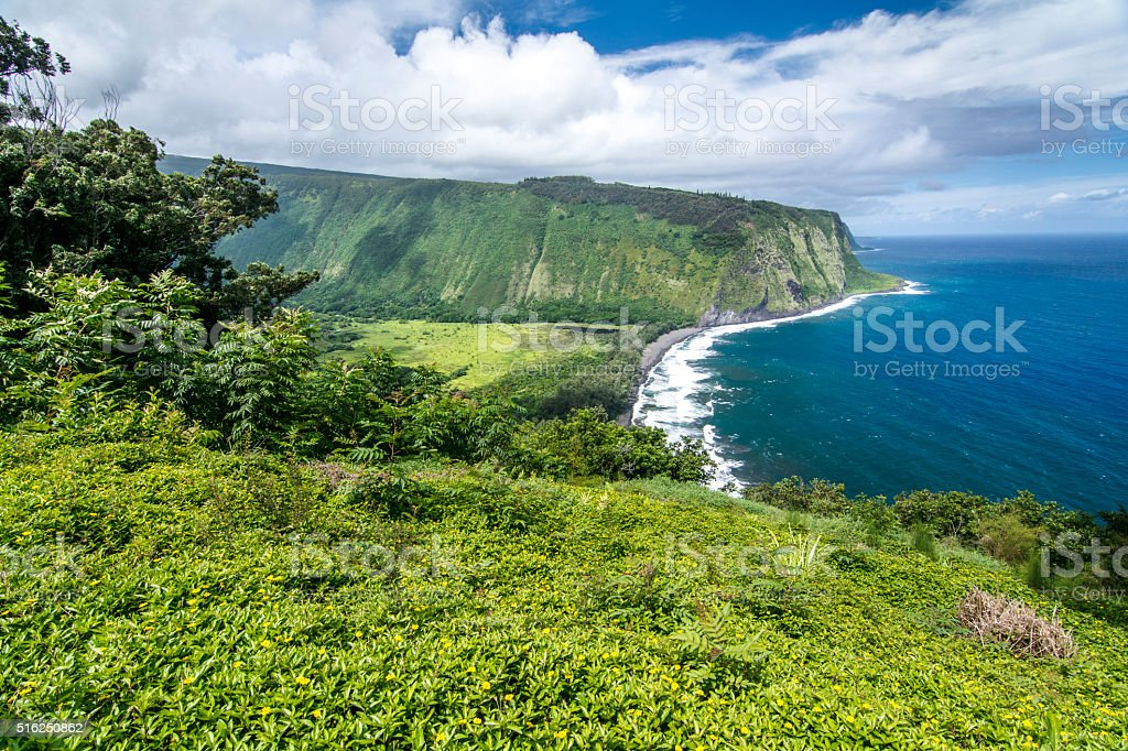 Waipio Valley on Hawaii stock photo