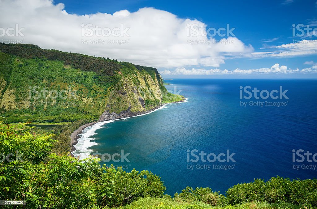 Waipio Valley View on Big Island Hawaii stock photo