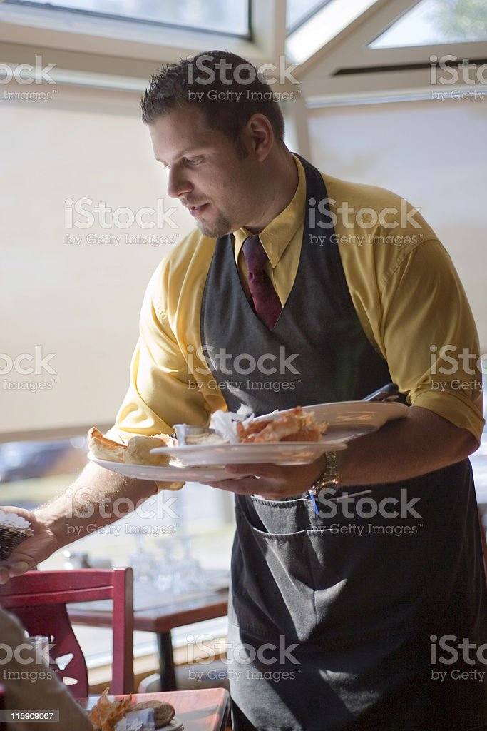 Waited serving food to customers stock photo