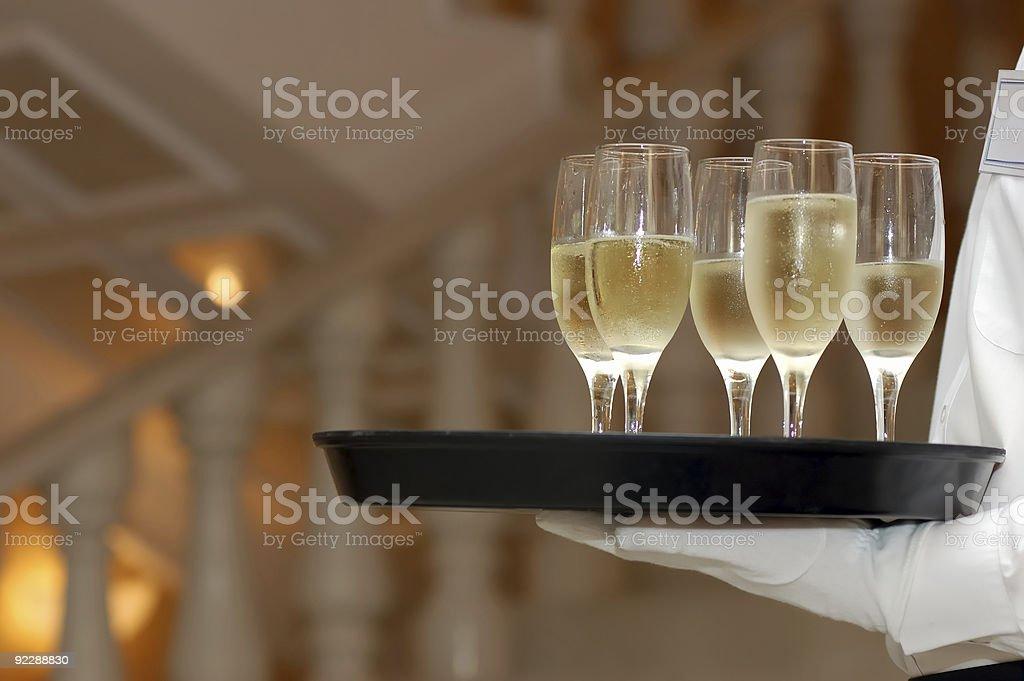 waiter and vine glasses royalty-free stock photo