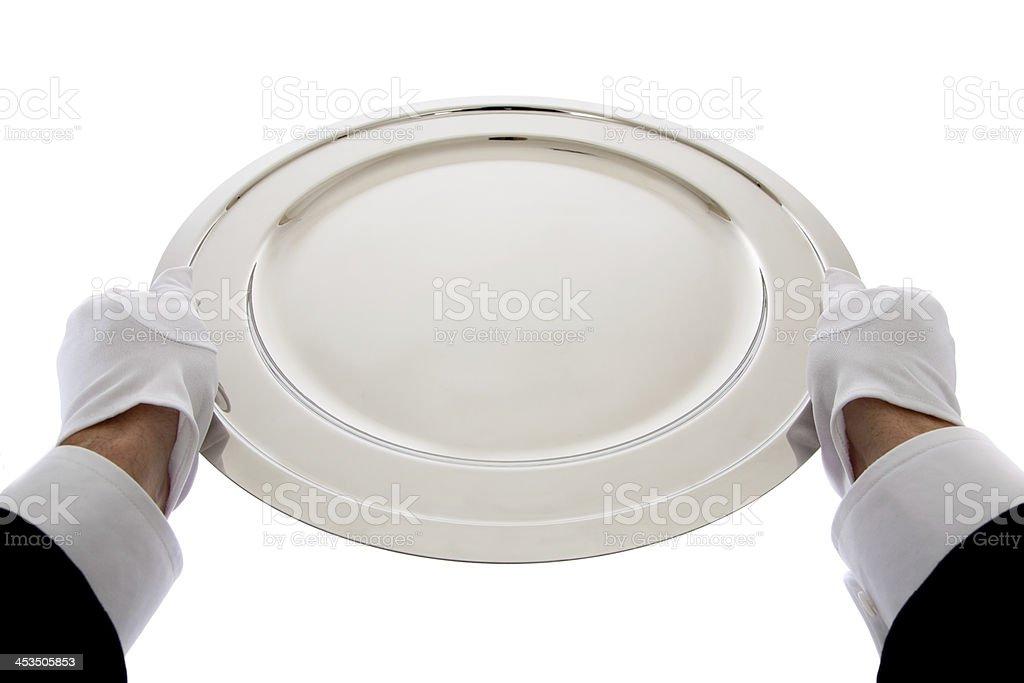 Waiter holding a silver tray royalty-free stock photo