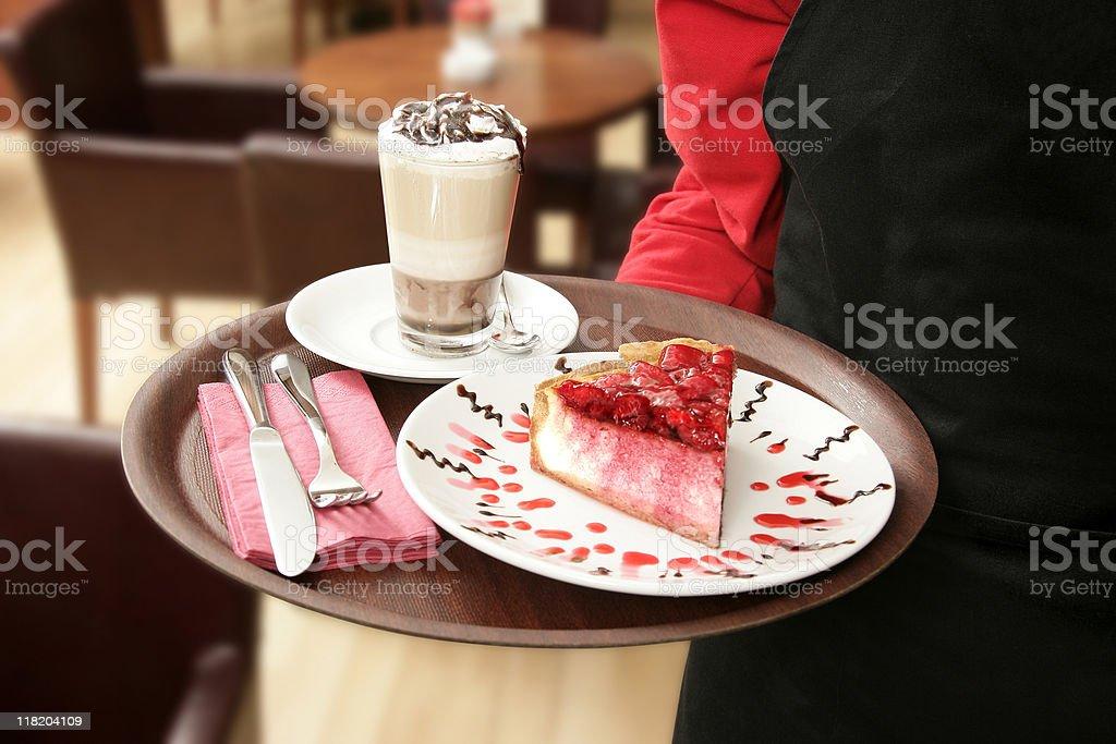 waiter holding cheese cake tray royalty-free stock photo