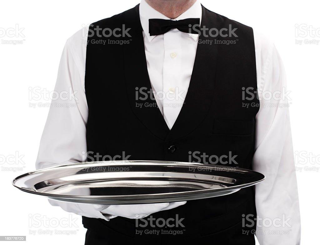 waiter holding tray royalty-free stock photo