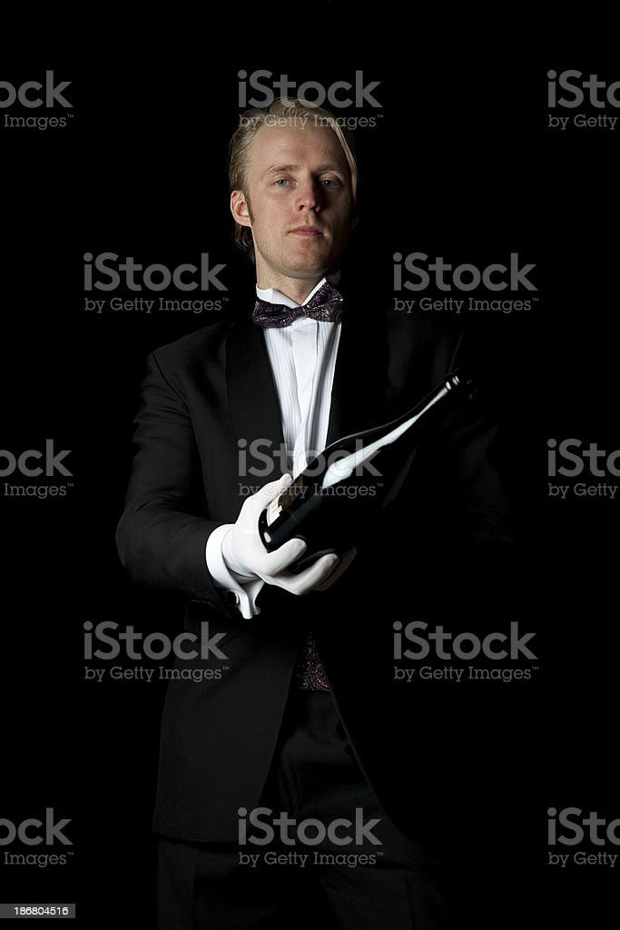 Waiter in Tuxedo stock photo