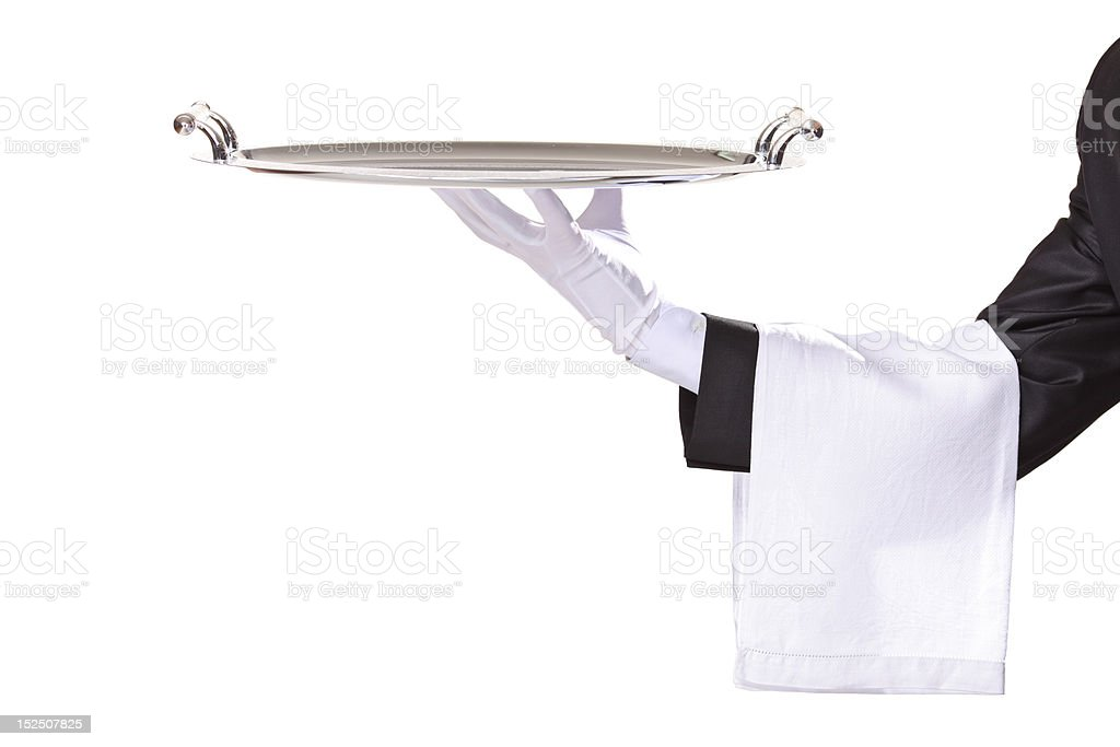 Waiter isolated on white royalty-free stock photo