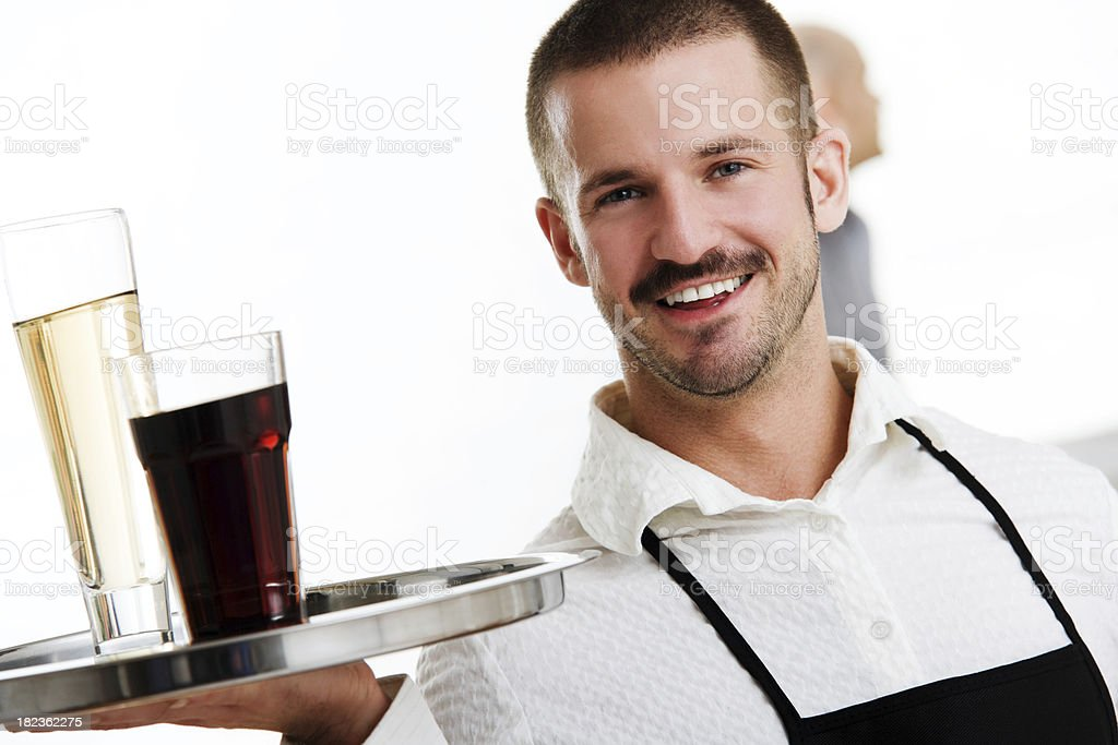Waiter or Server Holding Tray with Drinks royalty-free stock photo
