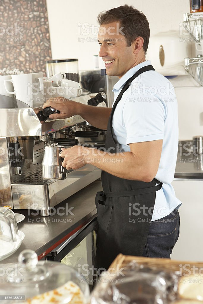 Waiter Preparing Coffee In Café royalty-free stock photo