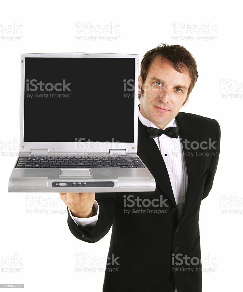 Waiter presenting laptop royalty-free stock photo