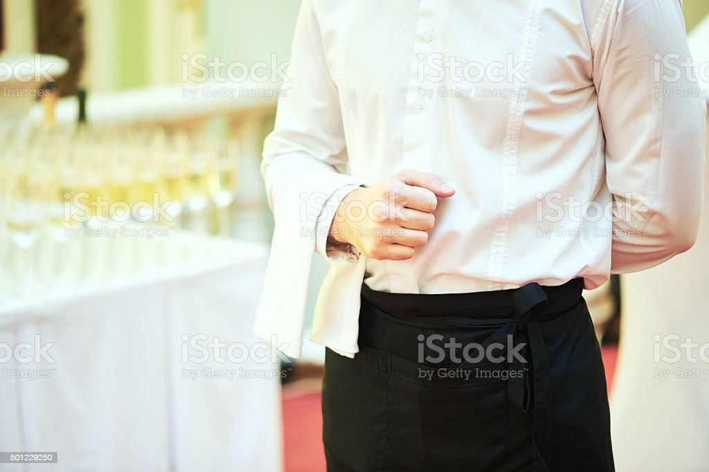 Waiter ready to service at party stock photo