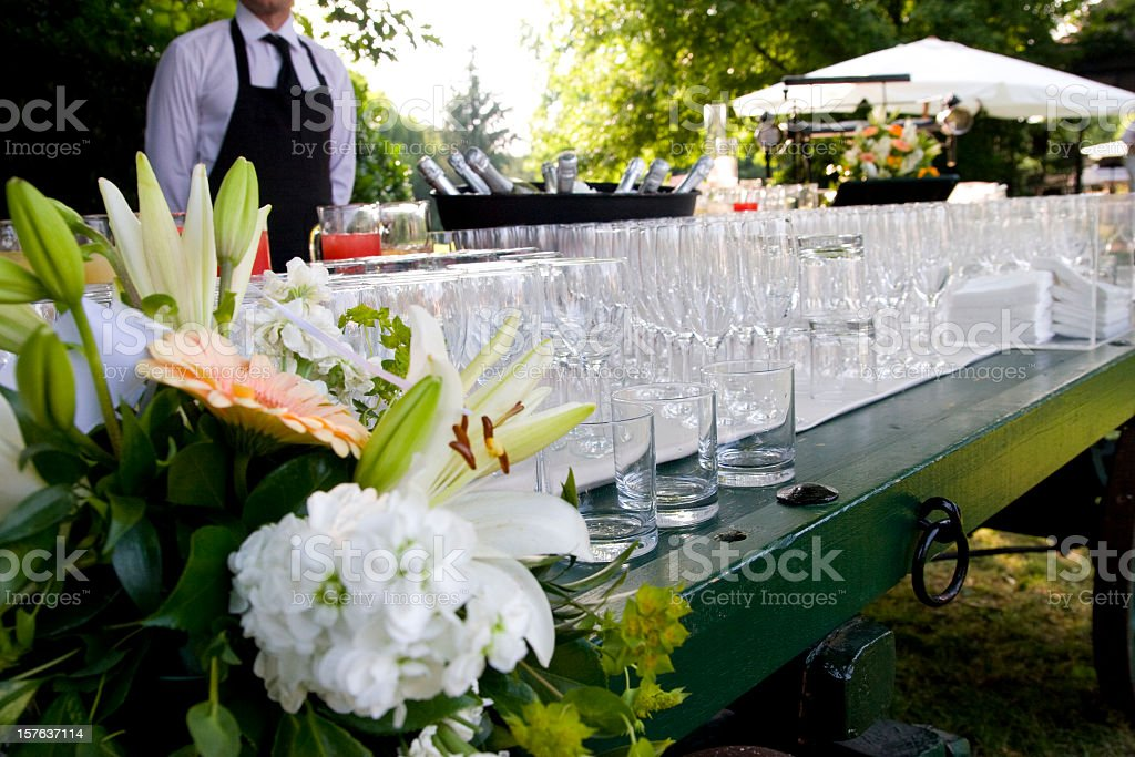 waiter serving at a wedding party stock photo
