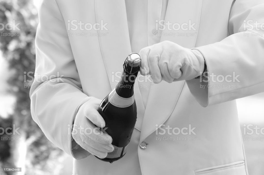 waiter serving b/w royalty-free stock photo