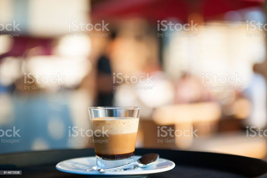 Waiter serving coffee stock photo