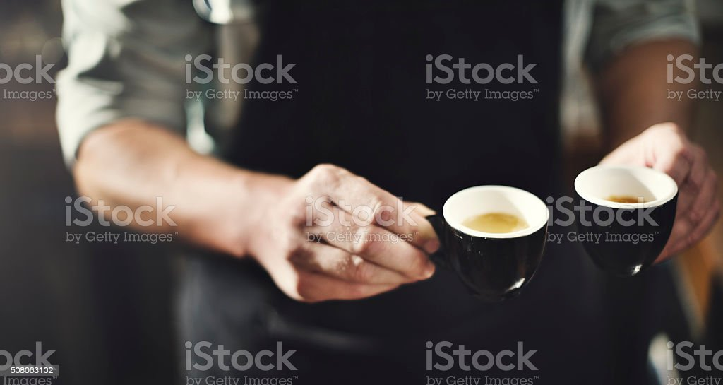 Waiter Serving Coffee Professional Concept stock photo