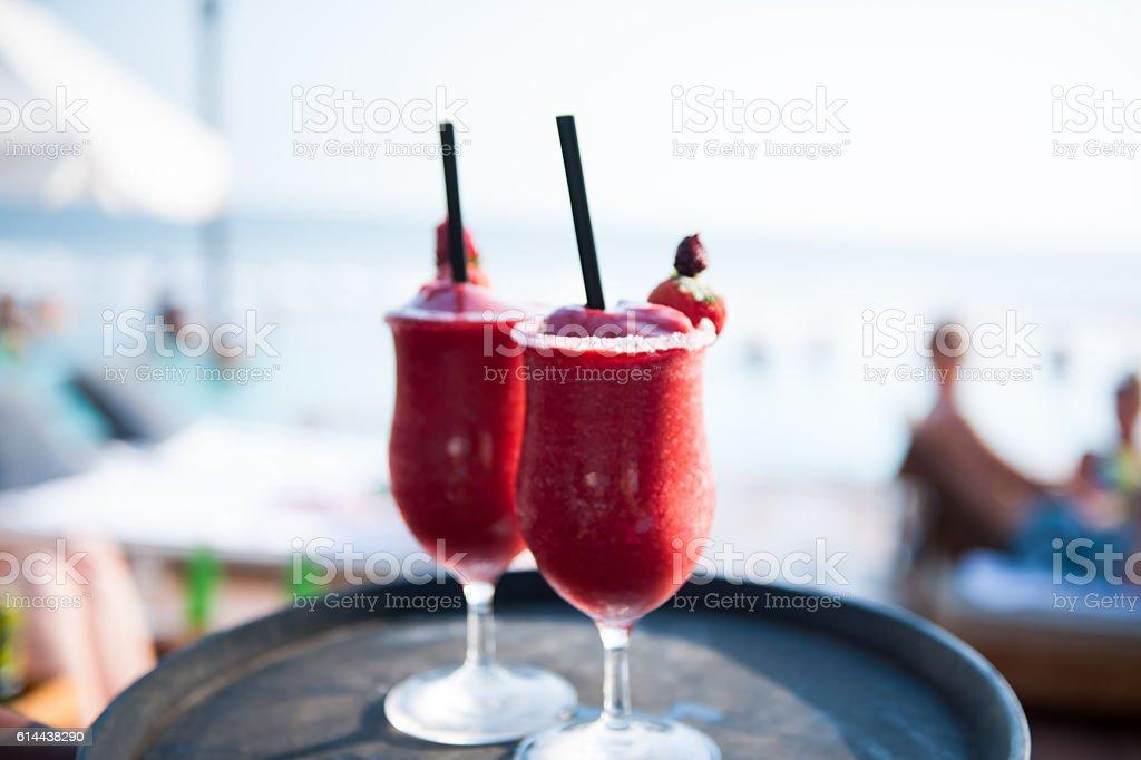 Waiter serving drinks stock photo