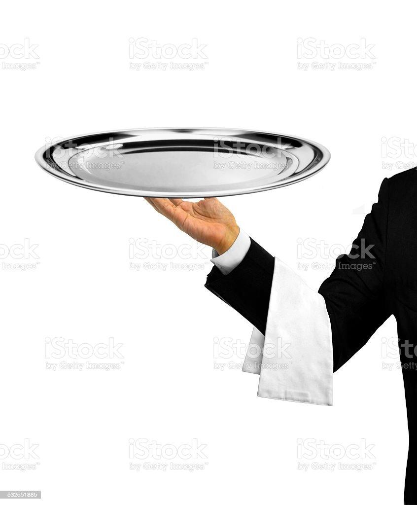 Waiter Serving Empty Platter stock photo