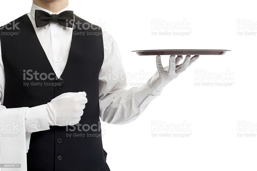 Waiter torso with empty tray royalty-free stock photo