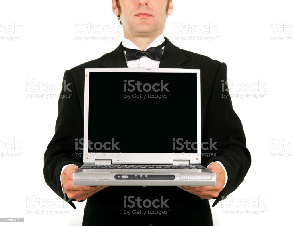 Waiter with laptop royalty-free stock photo