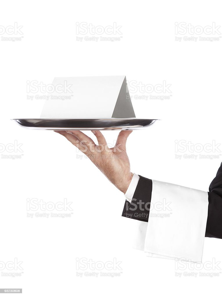 waiter with tray and empty card royalty-free stock photo