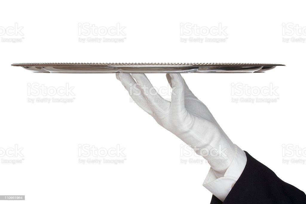 Waiter with tray stock photo