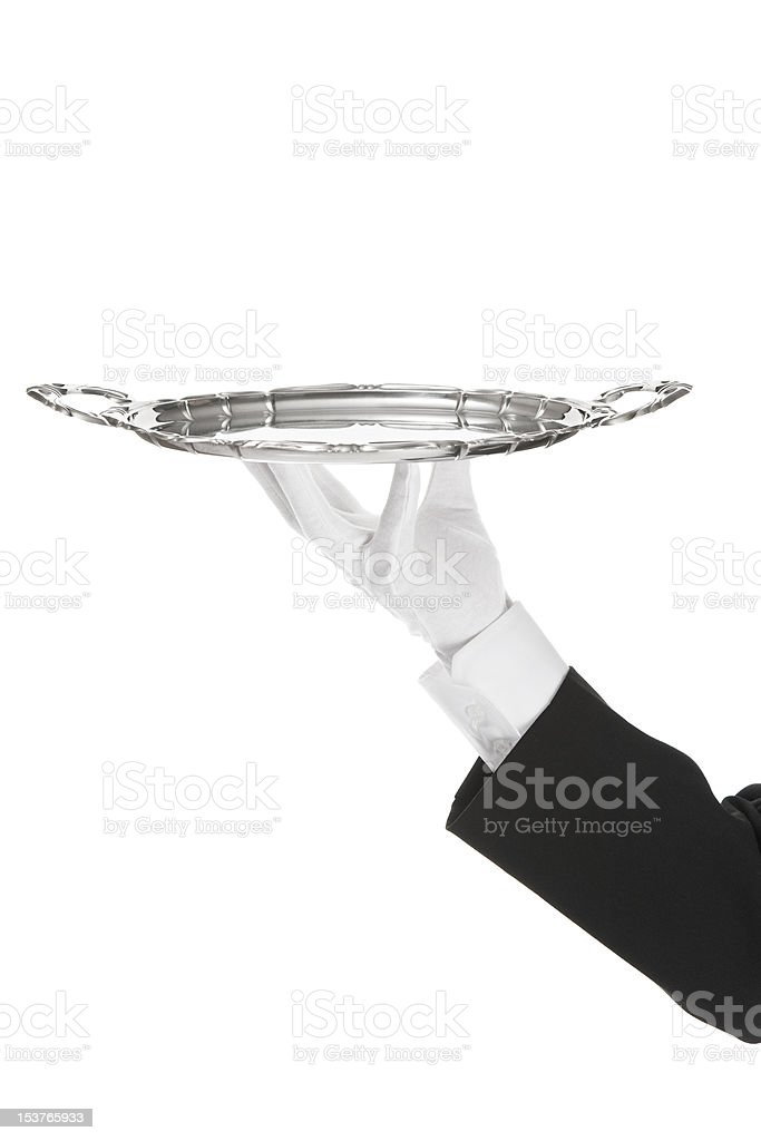 Waiter with tray royalty-free stock photo