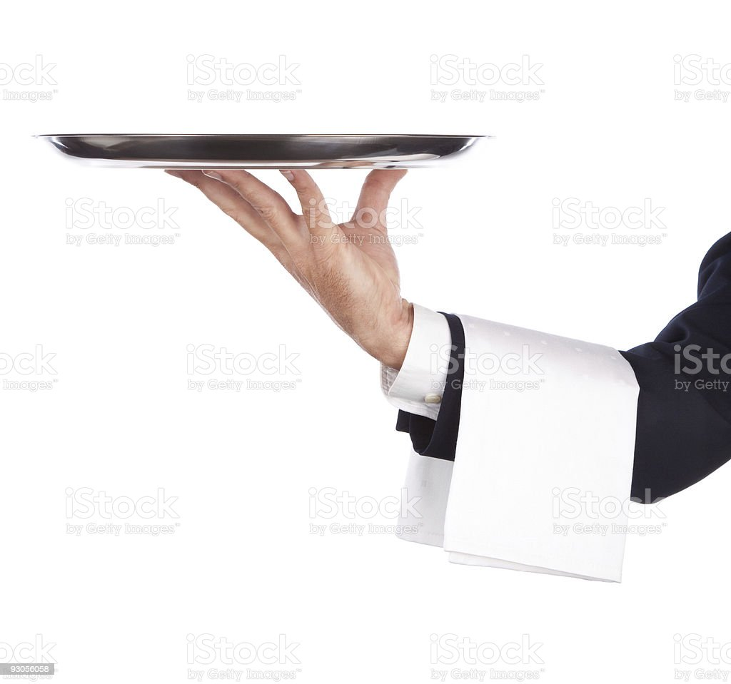 waiter with tray stock photo