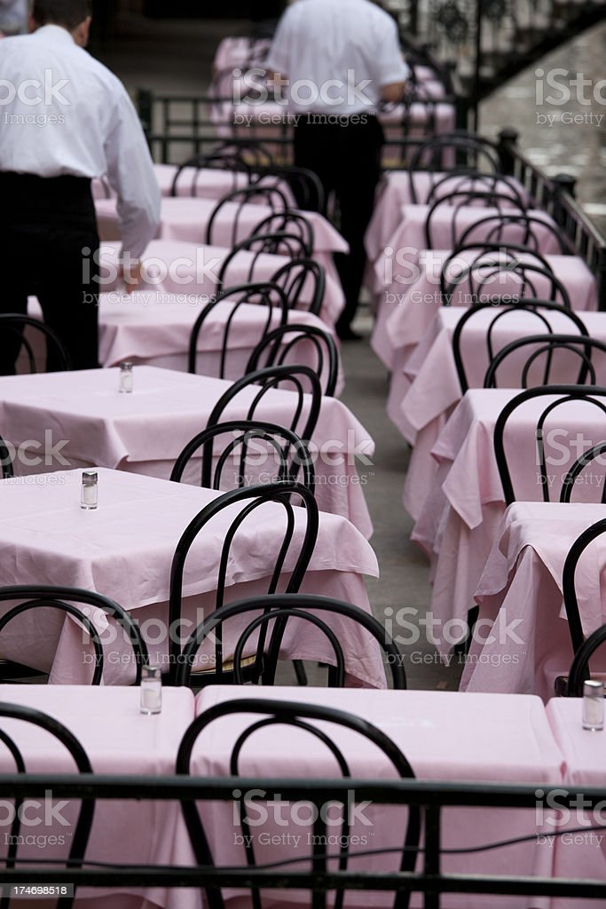 Waiters, Outdoor Cafe Bistro Tables and Chairs in Venice, Italy stock photo