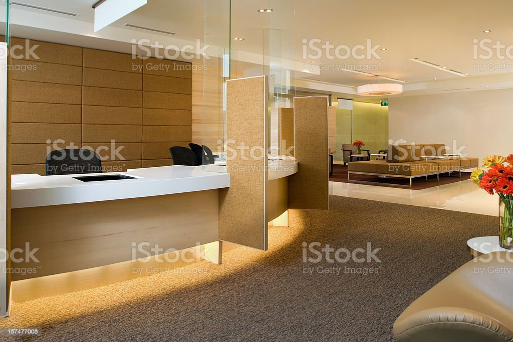 Waiting Area Inside A Luxurious Building stock photo