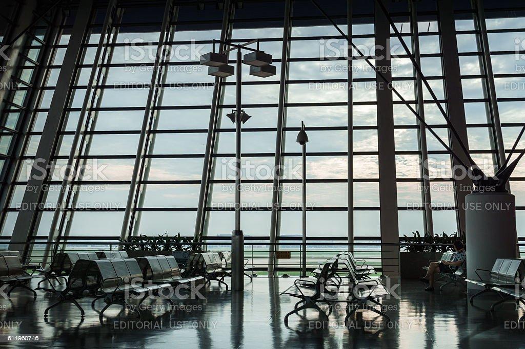 Waiting area of Shanghai Pudong International Airport, China stock photo