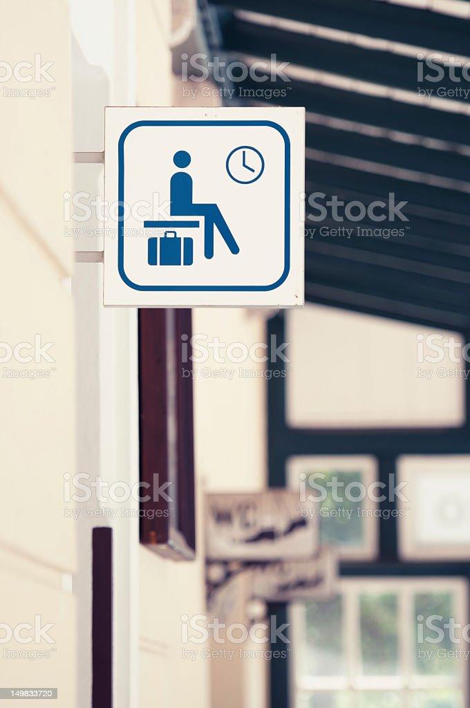 Waiting area sign stock photo