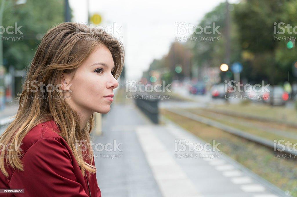 Waiting at tram stop in Berlin stock photo