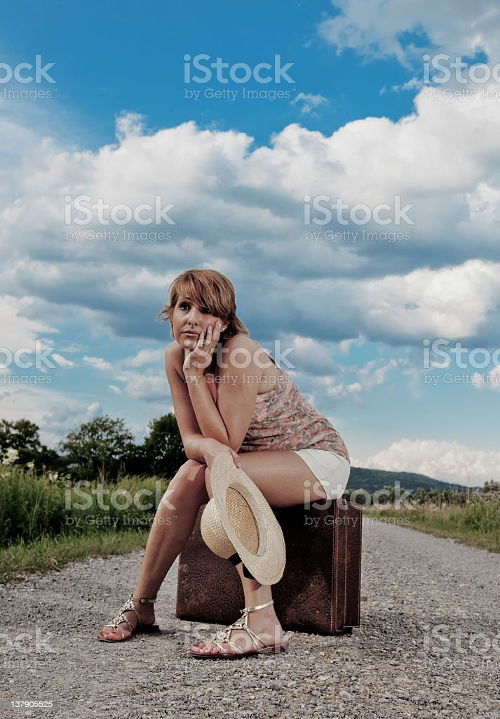 Waiting by the road stock photo
