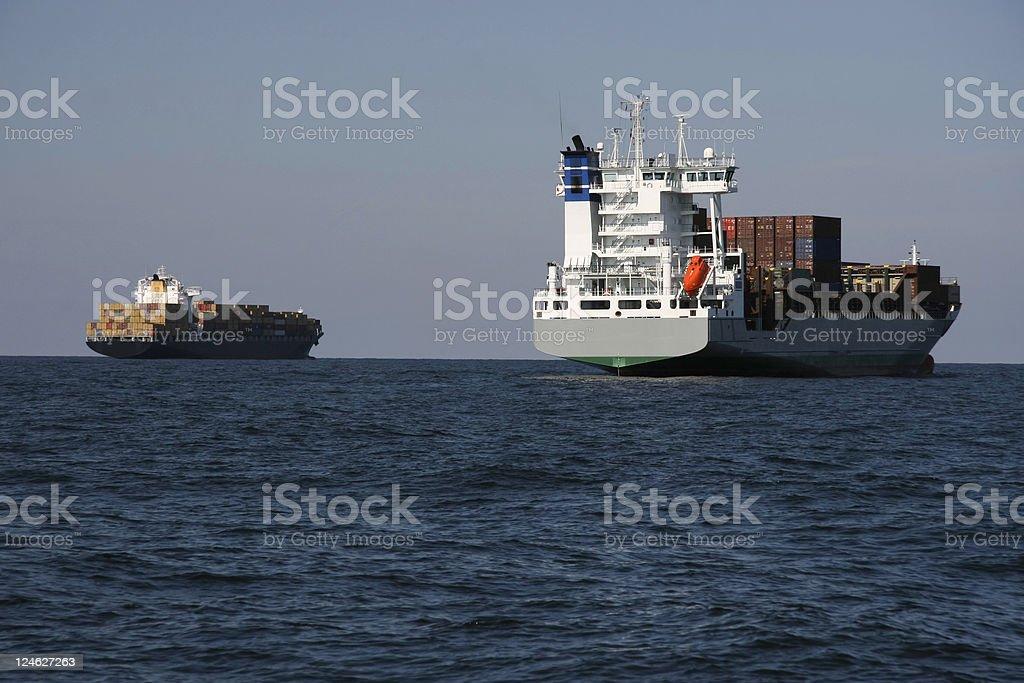 waiting cargo ships royalty-free stock photo