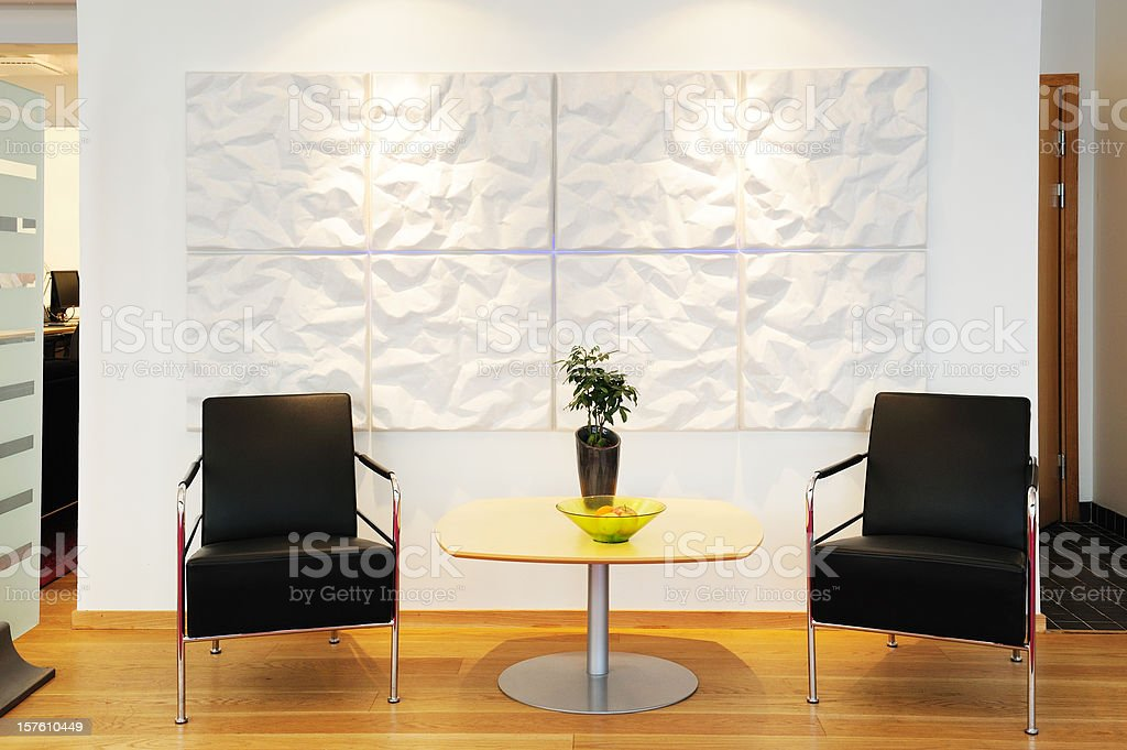 Waiting chairs in the office stock photo