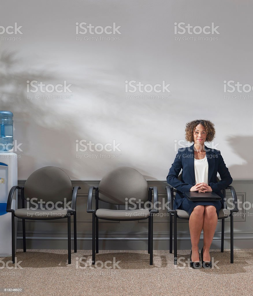 waiting confidently for interview stock photo