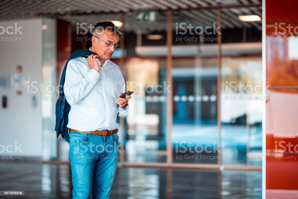 Waiting for a collegue stock photo