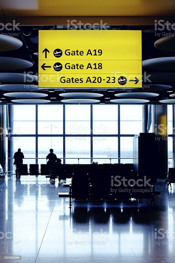 Waiting for a flight at the airport stock photo