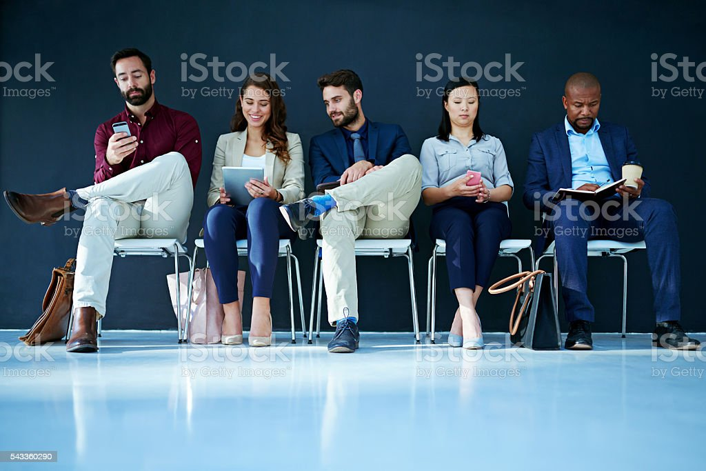 Waiting for a job interview stock photo
