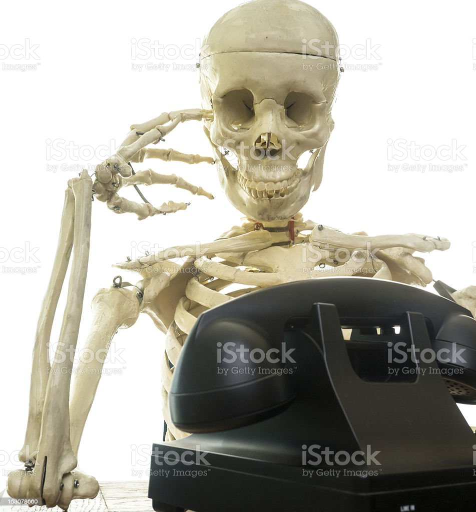 Waiting for a phone call stock photo