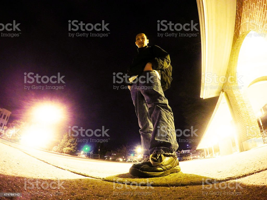 Waiting For A Ride At Night royalty-free stock photo