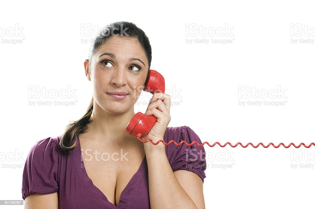 Waiting for an answer at the phone royalty-free stock photo