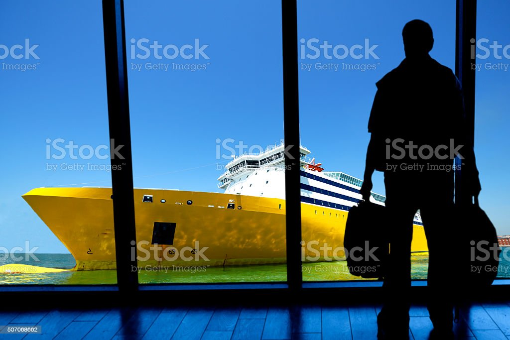 Waiting for cruise ship departure stock photo
