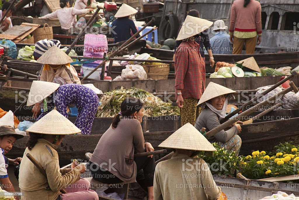 Waiting for Customers in Floating Market stock photo